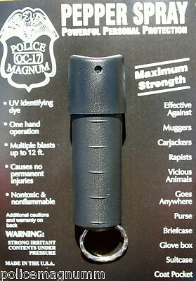 Police Magnum pepper spray .50oz black spin top keychain self defense protection
