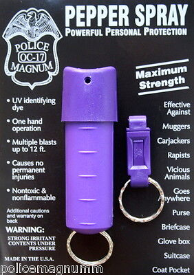 Police Magnum pepper spray .50oz purple spin top keychain QR defense security