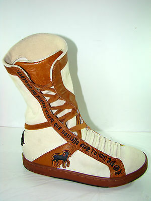 Women's L.A.M.B. Sneaker Boots Leather & Canvas Brown Beige Sz 8 Gently used