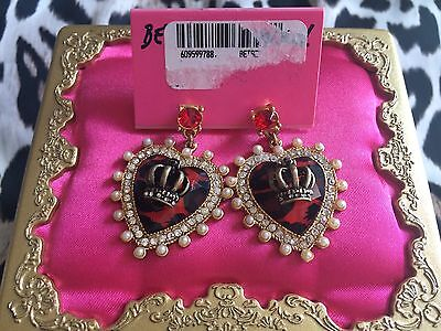 Betsey Johnson Royal Engagement Red LeopardHeart Crown Pearl Lucite Earrings NWT