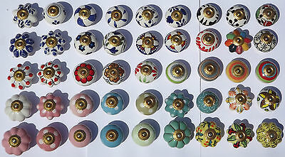 Ceramic knobs pulls handles for doors drawers cupboard cabinet wardrobe - brass