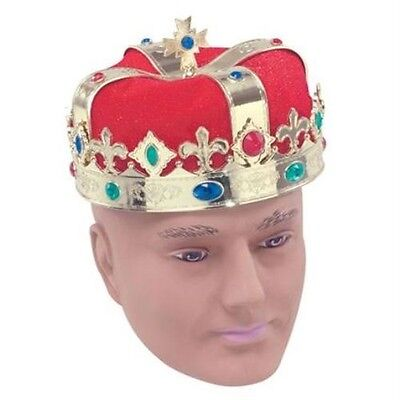 Medieval Red Gold Kings Queens Crown Royalty Fancy Dress Costume Adult NEW P2336