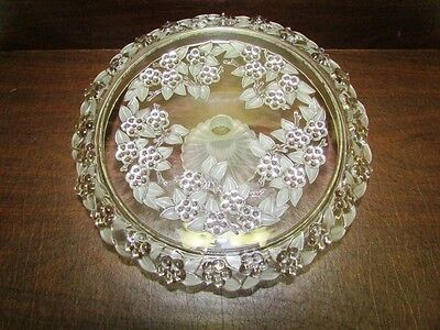 Mikasa Raised Frosted Glass PEDESTAL CAKE STAND Floral Grapes Carmen 13.25""