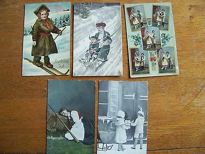 5 Vintage Postcard Norge Woman Native Costume Children Norway Early 1900's
