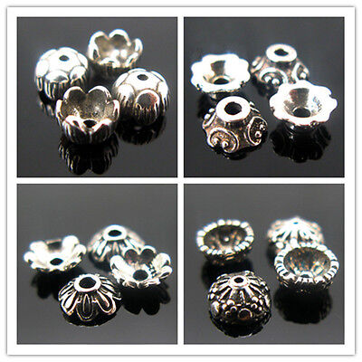 4pcs Vintage Sterling Silver Flower Spacer Beads End Caps Connector