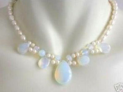 Blue Fire Opal and Fresh Water Pearl Cluster Necklace