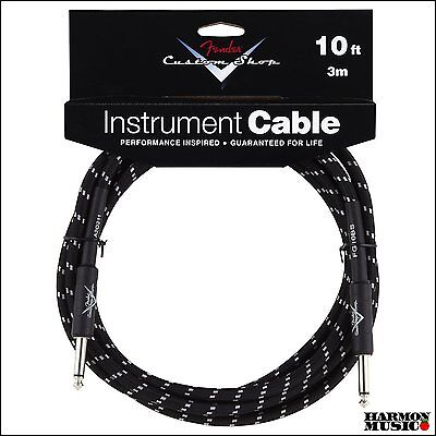 Fender Custom Shop 10' Foot ft Guitar Cable BLACK TWEED Straight Straight NEW