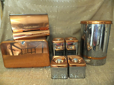VINTAGE Lincoln Beautyware Chrome+Copper Canisters~BreadBox~Trash Can~Wax Paper
