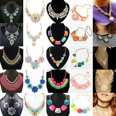Charm Women Fashion Pendant Statement Crystal Bib Choker Chain Necklace Jewelry