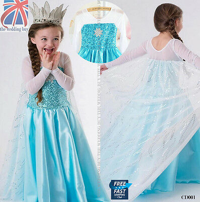UK Frozen Princess Queen Elsa Cosplay Costume Party Fancy Dress 3-8 Years CD001