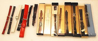 1 Lot of 15 Ladies Leather Watch Bands Black Brown Red White (A)