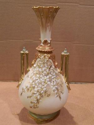 Austria ? Hand Painted 2 Handled Vase Flowers Gold Moriage Antique # 1318