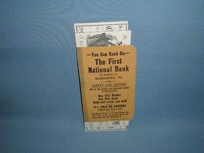 ANTIQUE VINTAGE FIRST NATIONAL BANK CHECK BOOK BLOTTER - HARRISBURG, PA UNUSED