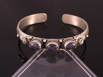 Tibetan Turquoise Lapis 5 Gemstone Carved Dorje Dotted Amulet Cuff Bracelet