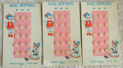 """Lot of 90 VTG Doll Buttons Made in Japan 3/16"""" - 1/8"""" - 3 Original Cards Each"""