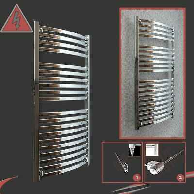 "500mm(w) x 1100mm(h) Pre-Filled Electric ""Ellipse"" Chrome Towel Rail - 300W"