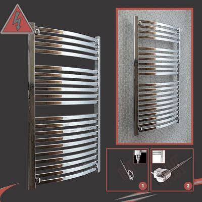 "600mm(w) x 1100mm(h) Pre-Filled Electric ""Ellipse"" Chrome Towel Rail - 400W/600W"