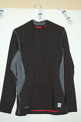 nike pro combat dri-fit stay warm hyperwarm mens fitted mock large black/silver