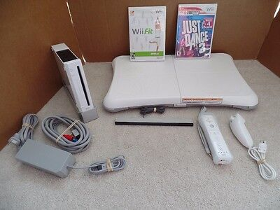 Nintendo Wii Fit Bundle! Console+Balance Board+2 Games Lot System White #2