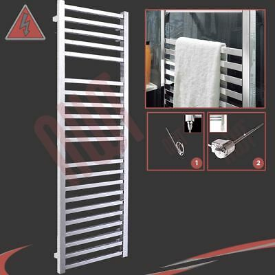 "500mm(w) x 1700mm(h) Pre-Filled Electric ""Denbigh"" Chrome Towel Rail - 600W"