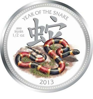 Niue 2013 $1 Lunar Year of the Snake - Harlequin Coral 1/2 Oz Silver Proof Coin