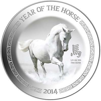 Niue 2014 $1 Lunar Year of the Horse - White Horse 1/2 Oz Silver Proof Coin