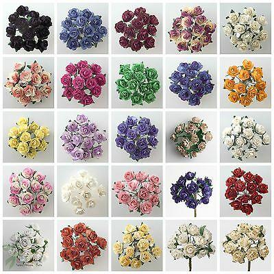 Bunch 12 PAPER TEA ROSE 1cm Flower Bud with Stem Spray Favour Craft Decoration