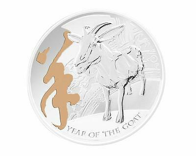 Pitcairn Islands 2015 $2 Lunar Year of the Goat - Gilded 1 Oz Silver Proof Coin