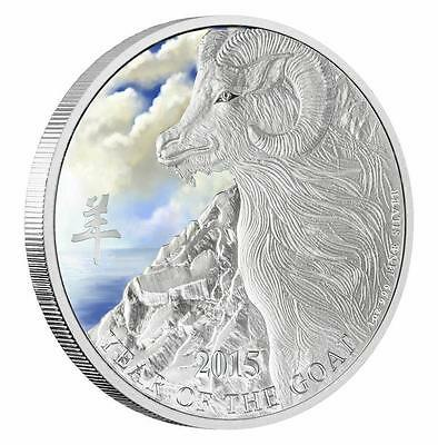 Niue 2015 $2 Lunar Year of the Goat - Coloured 1 Oz Silver Proof Coin