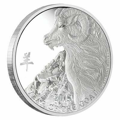 Niue 2015 $2 Lunar Year of the Goat - Engraved 1 Oz Silver Proof Coin