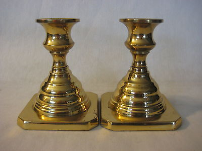 """PAIR OF RARE HEAVY WEIGHT SOLID BRASS U.S.A CANDLE HOLDERS, 4 1/2"""" T, 2 LBS 5 OZ"""