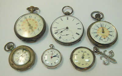 LOT OF (6) STERLING SILVER MIXED CASE SIZE POCKET WATCHES NO RESERVE