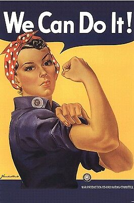WWII Rosie the Riveter Motivational Poster We Can Do It War Effort Print 1096
