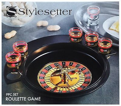Stylesetter Roulette Wheel Shot Glass Drinking Game 9 Pieces NIB