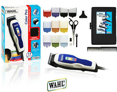 WAHL 17pc Color Pro Complete Hair Cutting Kit Clippers Trimmer Shaver 9155-2008