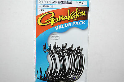 gamakatsu 4/0 offset ewg shank worm tube senko hook 25 extra wide gap 58414-25