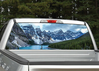 Truck Back Window Decals >> Mountains Lake Scenery Rear Window Decal Graphic For Truck