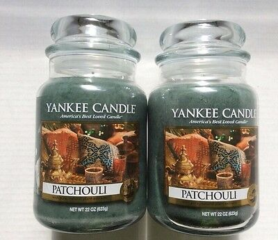 Yankee Candle PATCHOULI 22 OZ LOT of 2 JARS HTF SCENT FREE SHIPPING