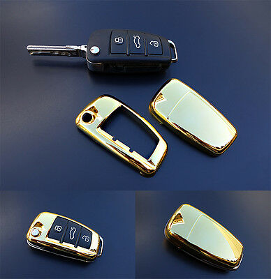 GOLD Audi Remote Flip Key Cover Case Skin Shell Cap Fob Protection Hull S Line