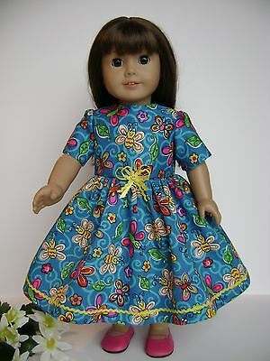 """DOLL CLOTHES  FITS 18"""" AMERICAN GIRL 'BUTTERFLIES' DRESS NEW HANDMADE IN USA!"""