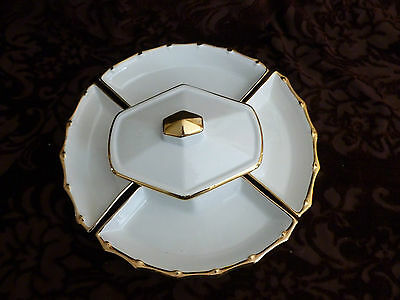 Beautiful Chip and Dip set -California Pottery - J 18 - White and Gold - USA