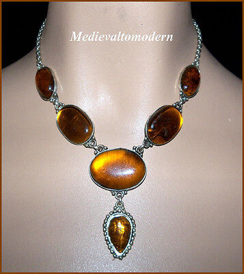 """NEW~~Amber Teardrop Chunky Glass Necklace 18"""""""