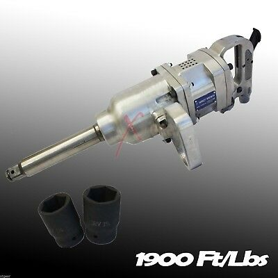 "1"" Air Impact Wrench Gun Long Shank Commercial Truck w /2 Sockets1900 Ft/lbs"