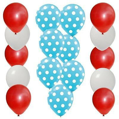 30pc BALLOON set 10 BLUE polka dot 10 RED 10 WHITE latex DR SEUSS colors