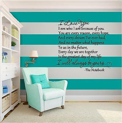 THE NOTEBOOK Vinyl Wall Art quote Home Family Decor Decal Word & Phrase BLACK