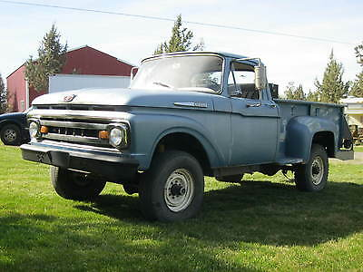 Ford : F-250 custom cab SOLID 1961 FORD F-250 4X4 CUSTOM CAB FLARESIDE STRONG RUNNING AND DRIVING TRUCK