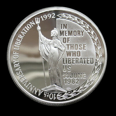 1992 Silver Falkland Islands 5 Pounds Liberation Anniversary Coin Gem Proof