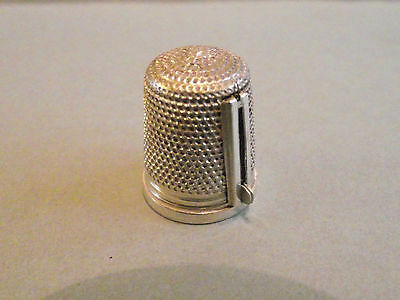 Antique solid silver thimble threader combo - Gomms 1931