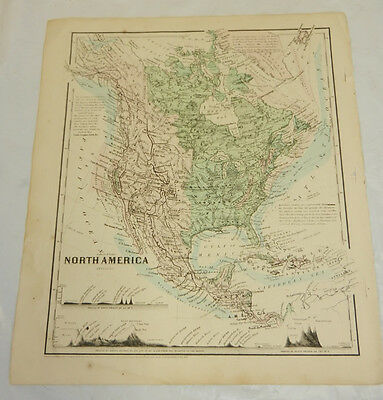 1864 Colton Antique COLOR Map//PHYSICAL NORTH AMERICA, b/w EASTERN HEMISPHERE