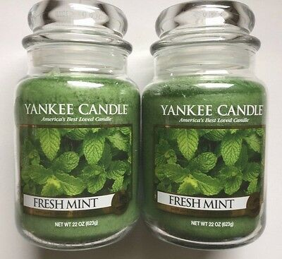Yankee Candle FRESH MINT 22  oz. JARS LOT OF 2 HTF SCENT